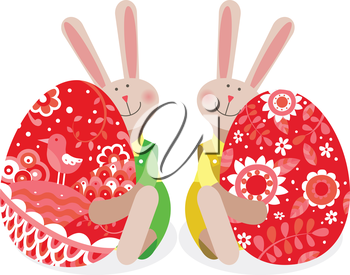 Two rabbits with Easter eggs