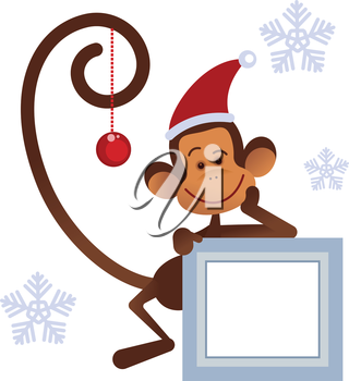 Merry Christmas  monkey with gifts