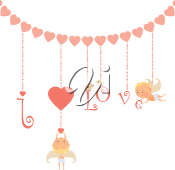 Valentine's Day card with cupid angel