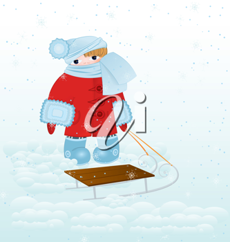 Royalty Free Clipart Image of a Child With a Sled