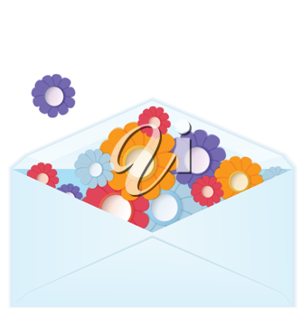 Royalty Free Clipart Image of an Envelope of Paper Flowers
