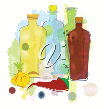 Royalty Free Clipart Image of a Bunch of Bottles