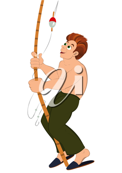 Illustration of cartoon male character isolated on white. Cartoon man in green pants with fishing rod.