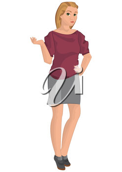 Illustration of retro young woman isolated on white. Retro girl in gray skirt.