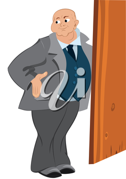 Illustration of cartoon male character isolated on white. Retro hipster bold man standing near the door.