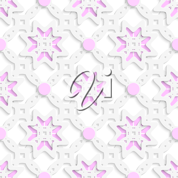 Abstract 3d geometrical seamless background. White perforated ornament layered with pink dots and cut out of paper effect.