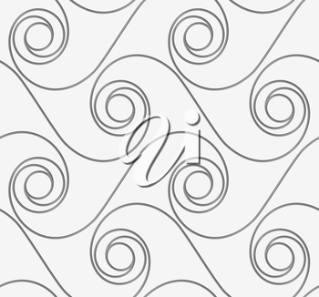 Perforated horizontal winding spirals.Seamless geometric background. Modern monochrome 3D texture. Pattern with realistic shadow and cut out of paper effect.
