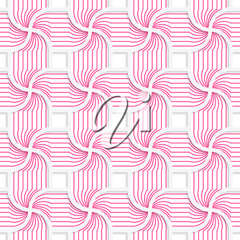 Colored 3D pink striped pedals with squares.Seamless geometric background. Modern 3D texture. Pattern with realistic shadow and cut out of paper effect.