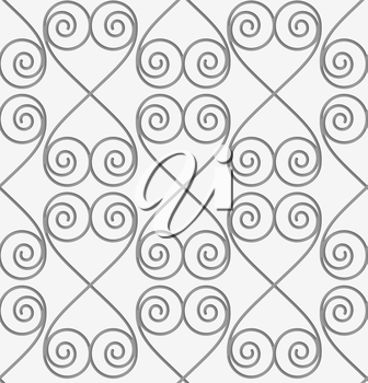 Perforated swirly hearts in turn.Seamless geometric background. Modern monochrome 3D texture. Pattern with realistic shadow and cut out of paper effect.