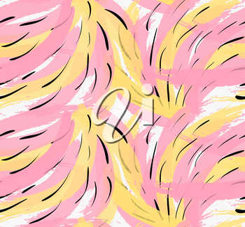 Artistic color brushed yellow pink strokes with black dashes.Hand drawn with ink and marker brush seamless background.Abstract color splush and scribble design.