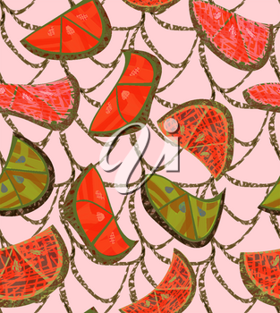 Abstract orange slices with texture and grid on cream .Hand drawn with ink and colored with marker brush seamless background.Creative hand made brushed design.