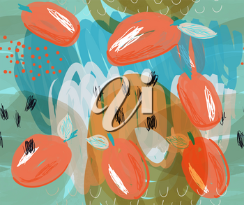Scribbled orange plums on marker blue details.Creative abstract colorful seamless pattern. Tribal ethnic motives. Universal bright background for greeting cards, invitations. Had drawn ink and marker