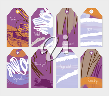 Grunge texture rough strokes floral sketch purple tag set.Creative universal gift tags.Hand drawn textures.Ethic tribal design.Ready to print sale labels Isolated on layer.