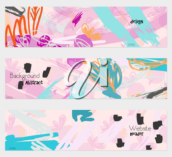 Roughly sketched leaves pink banner set.Hand drawn textures creative abstract design. Website header social media advertisement sale brochure templates. Isolated on layer