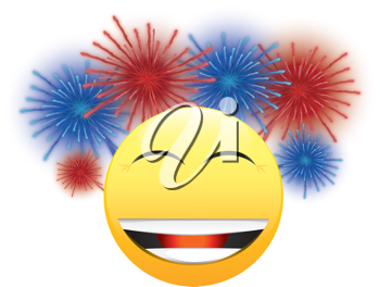 Royalty Free Clipart Image of a Happy Face With Fireworks