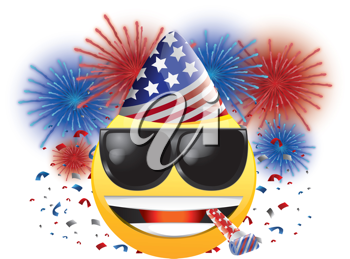 Royalty Free Clipart Image of a Celebrating American Happy Face With Streamers and Fireworks