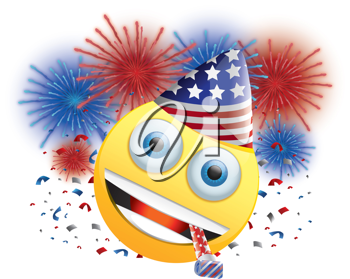 Royalty Free Clipart Image of a Celebrating American Happy Face With Fireworks and Streamers