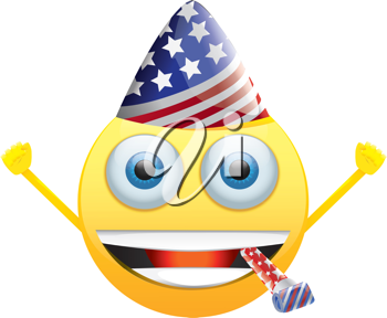 Royalty Free Clipart Image of a Celebrating American Happy Face
