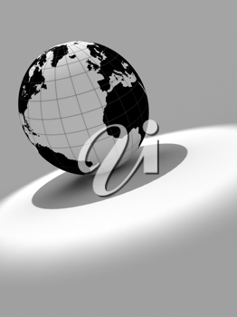 3d earth on white and grey background