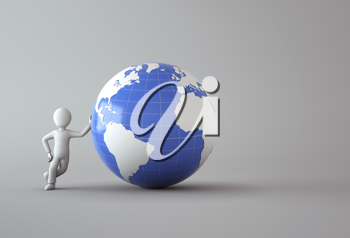 Royalty Free Clipart Image of a 3D Character leaning on the Earth