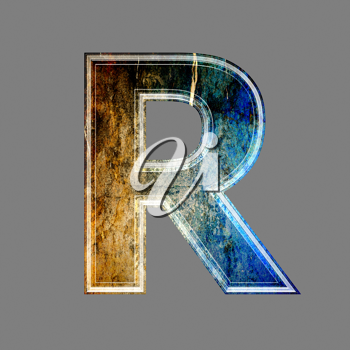 grunge 3d  letter isolated on grey background - R