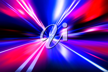 red blue acceleration speed motion on night road