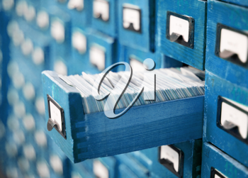 Royalty Free Photo of a Blue Card Catalog