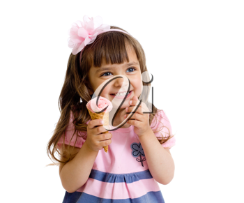 Royalty Free Photo of a Little Girl Eating Ice Cream
