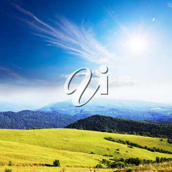 Royalty Free Photo of Hills and Fields
