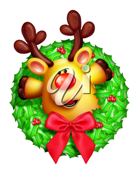 Royalty Free Clipart Image of a Reindeer Wreath