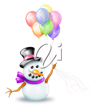 Royalty Free Clipart Image of a Snowman With Balloons