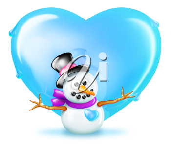 Royalty Free Clipart Image of a Snowman and a Heart