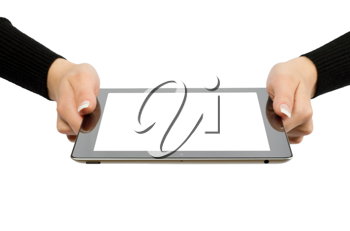 Royalty Free Photo of a Woman Holding a Tablet