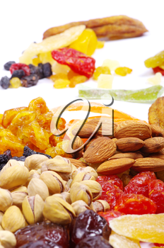 Background made of assorted dried fruits