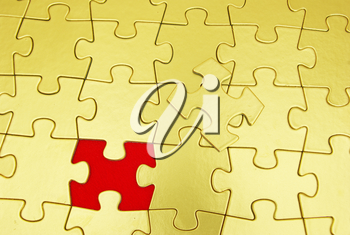 gold puzzle for background. business concept