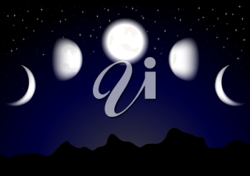 Royalty Free Clipart Image of a Bunch of Moons