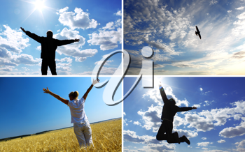 Feeling of flight. Silhouettes on the sky background