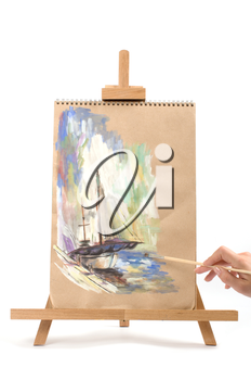 painting a beautiful yacht, isolated on a white background