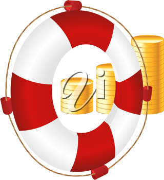Royalty Free Clipart Image of a Life Preserver and Money