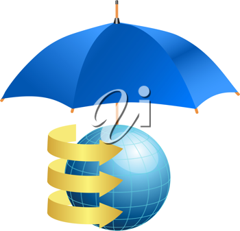 Royalty Free Clipart Image of a Globe With Arrows Under an Umbrella