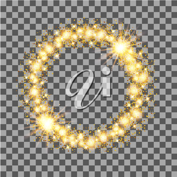 Gold glow glitter circle frame with stars on transparent background. Vector illustration.