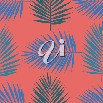Living coral tropical palm leaves seamless pattern. Vector illustration.