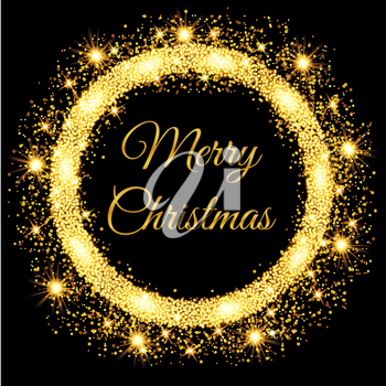 Merry Christmas glowing gold background. Vector illustration