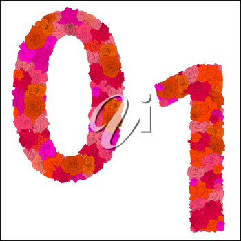 Royalty Free Clipart Image of Floral Numbers