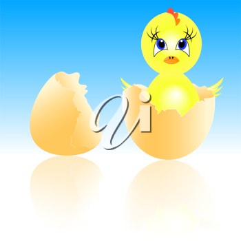 Royalty Free Clipart Image of an Chick Hatching From an Egg