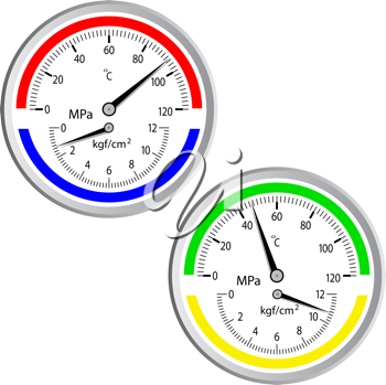 Royalty Free Clipart Image of Gas Manometers