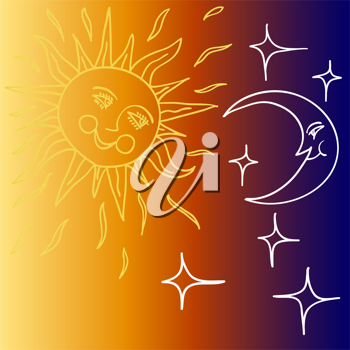 Royalty Free Clipart Image of the Sun and Moon