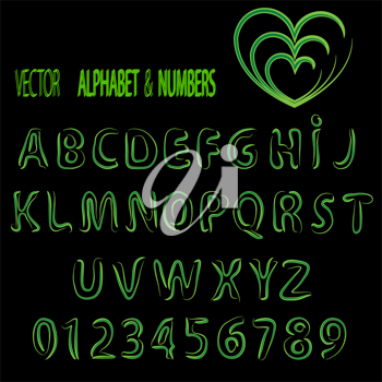 Royalty Free Clipart Image of an Alphabet and Numbers