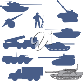 Royalty Free Clipart Image of Military Vehicles