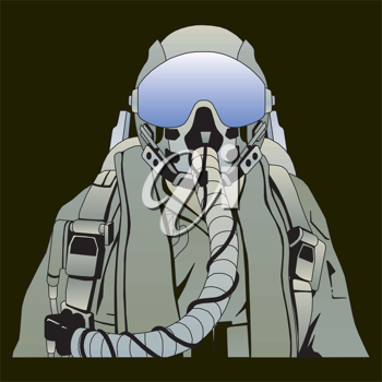 Royalty Free Clipart Image of a Military Pilot